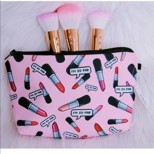 Lipstick pink makeup bag